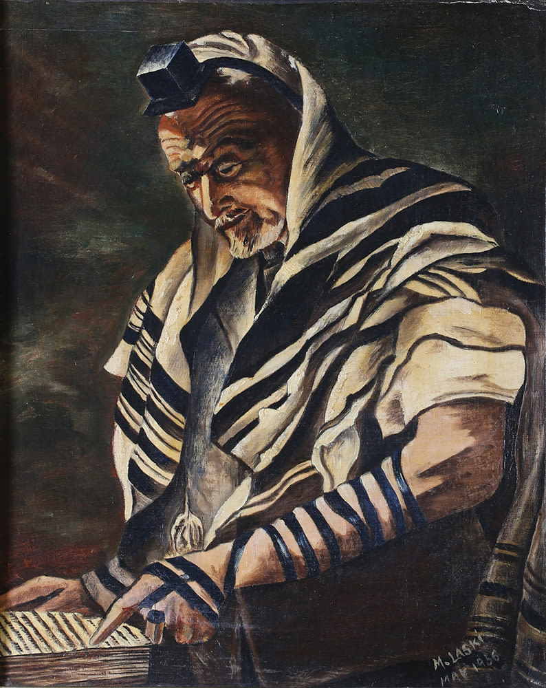LASKI-RING MIRIAM. Gebed met Tefillin. Geteken 'M. Laski' gedateer Mei 1956.